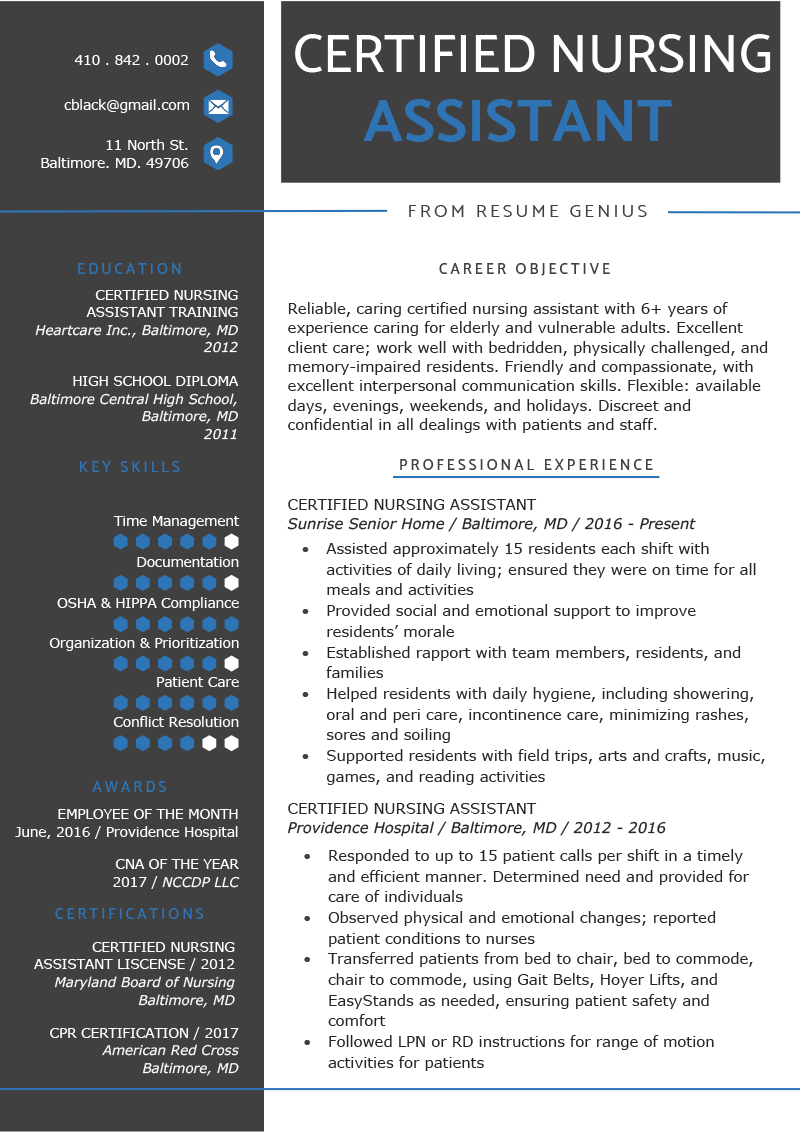 Certified Nursing Assistant CNA Resume Sample  Writing