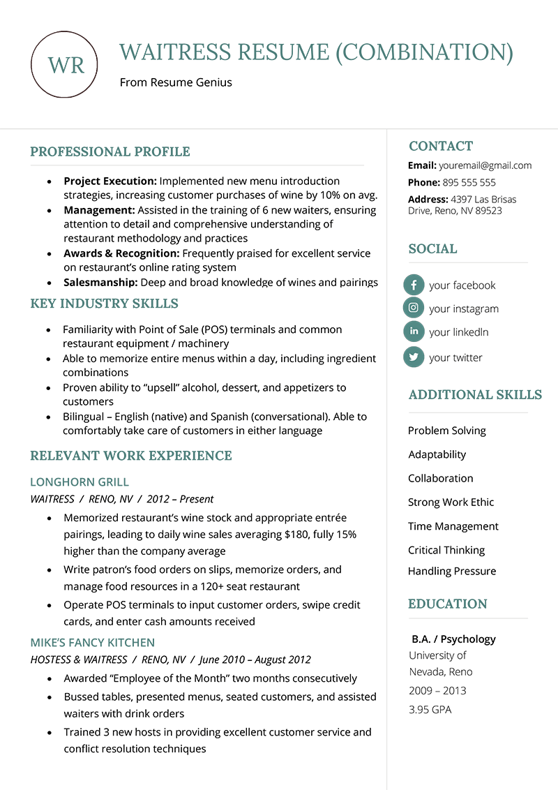 What Is A Combination Resume Format The Combination Resume Examples Templates Writing Guide Rg