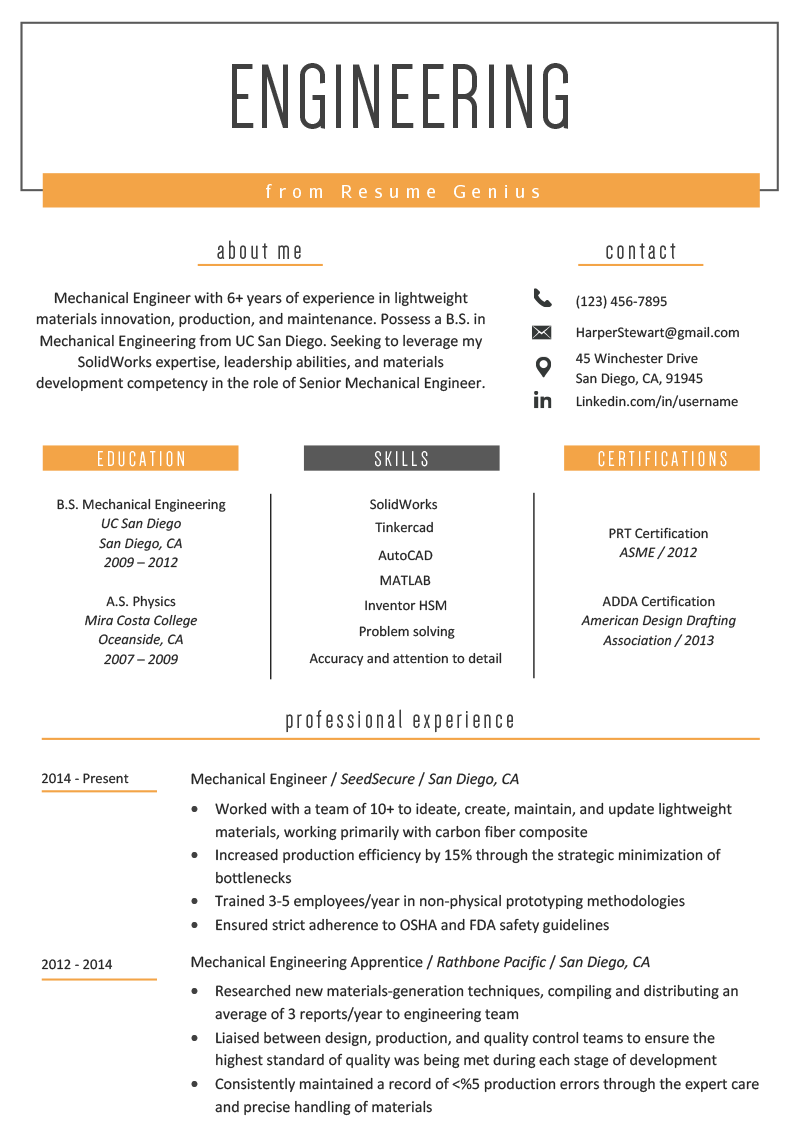 Engineering Resume Example  Writing Tips  Resume Genius