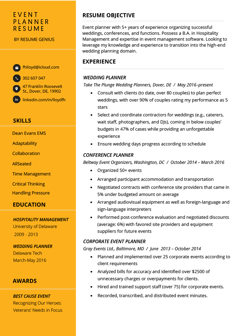 Event Planner Resume Example & Tips Resume Genius
