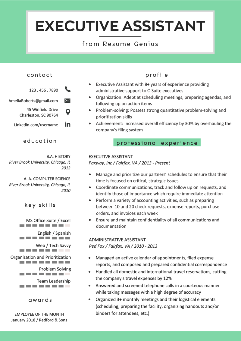 Executive Assistant Resume Example & Writing Tips RG