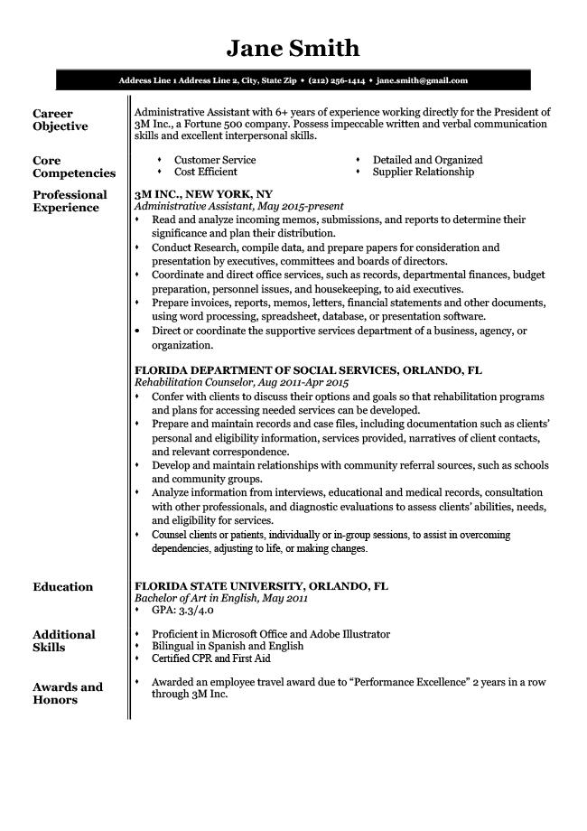 executive resume font size
