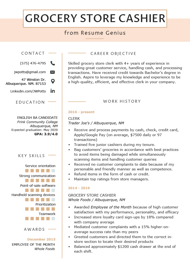 Grocery Store Cashier Resume Example  Tips  Resume Genius