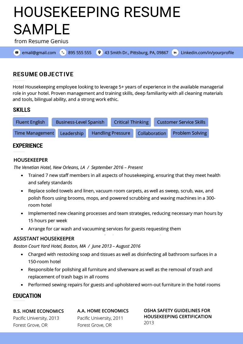 Housekeeping Resume Example Housekeeping Resume Example Writing Tips Resume Genius