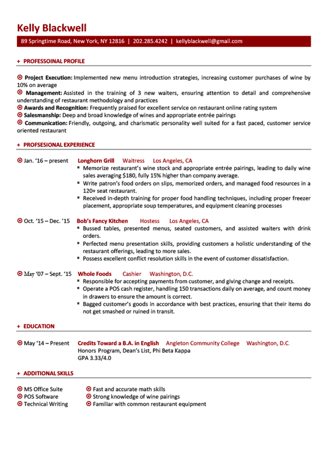 resume templates for little job experience