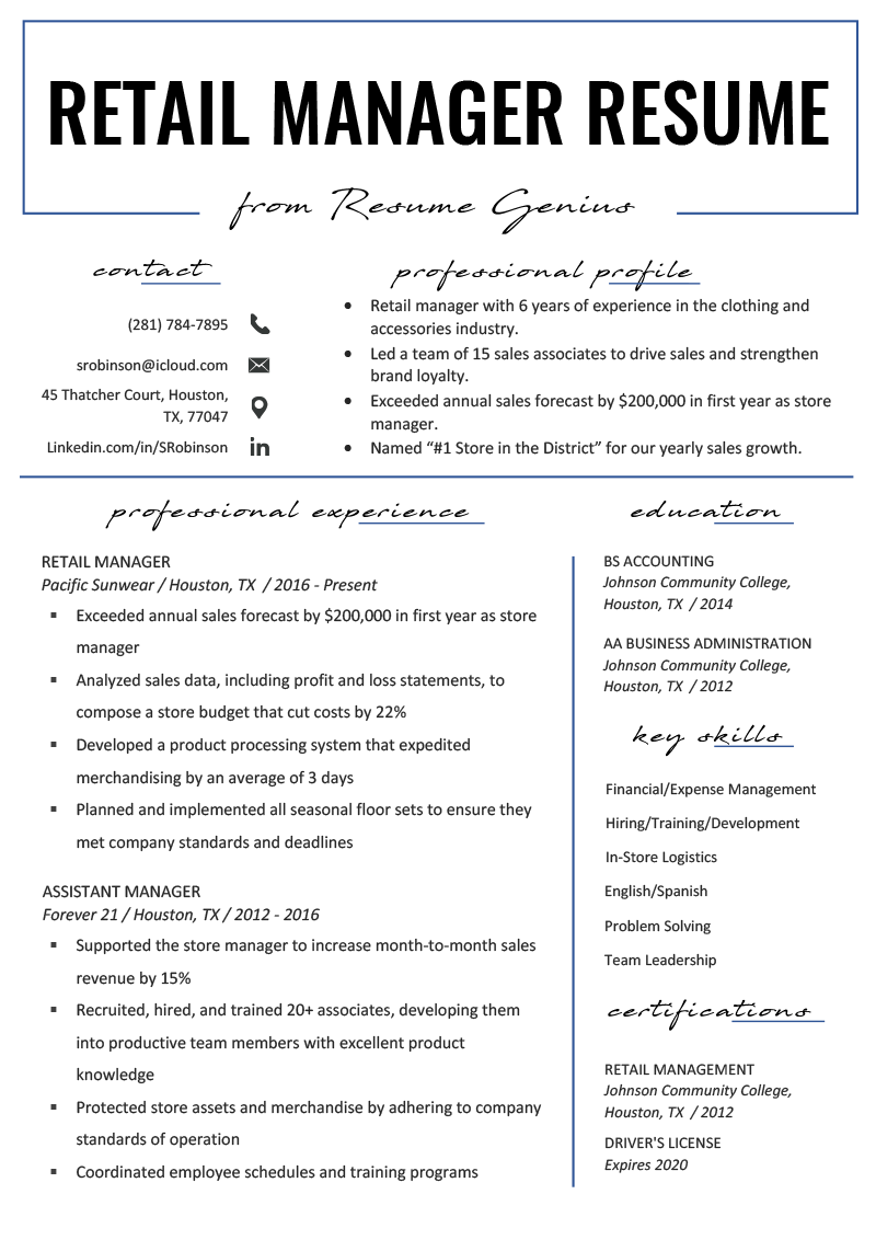 Resume Samples For Customer Service Manager Retail Manager Resume Example Writing Tips Rg