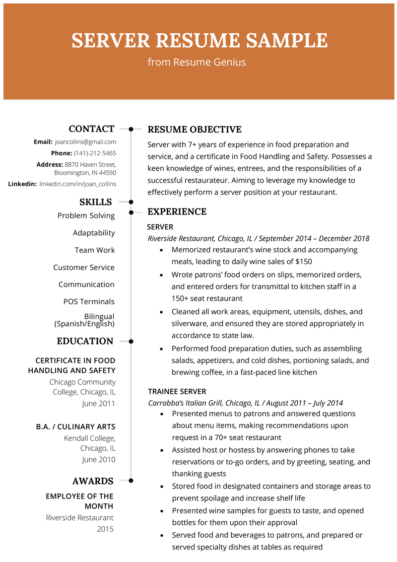 Server Resume Example & Writing Tips Resume Genius