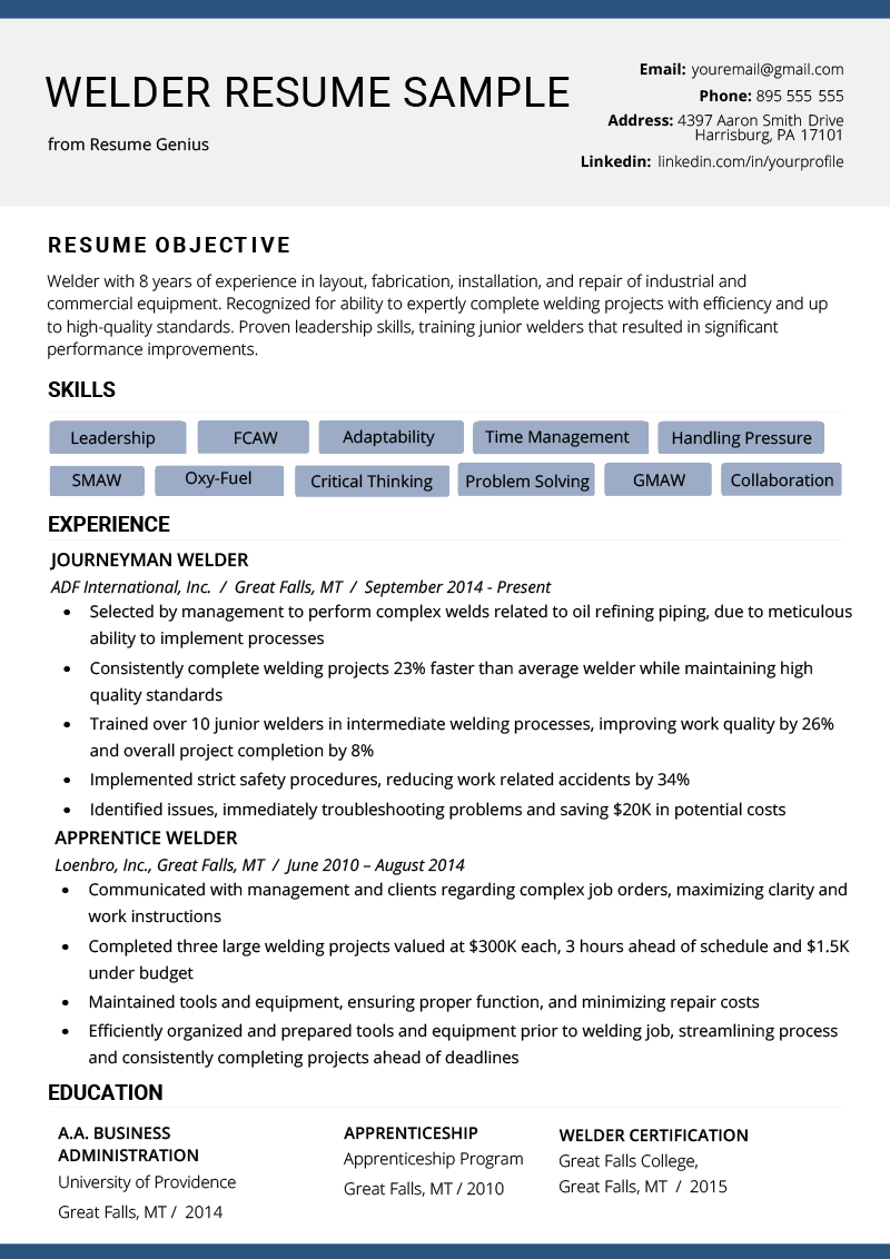 Welder Resume Example  Writing Tips  Resume Genius