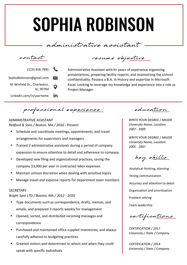 Resume Objective Examples Writing