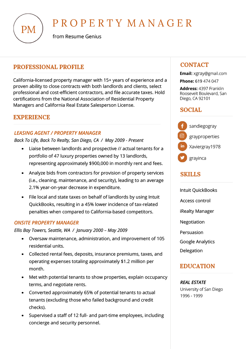 Property Manager Resume Example & Writing Tips Resume Genius