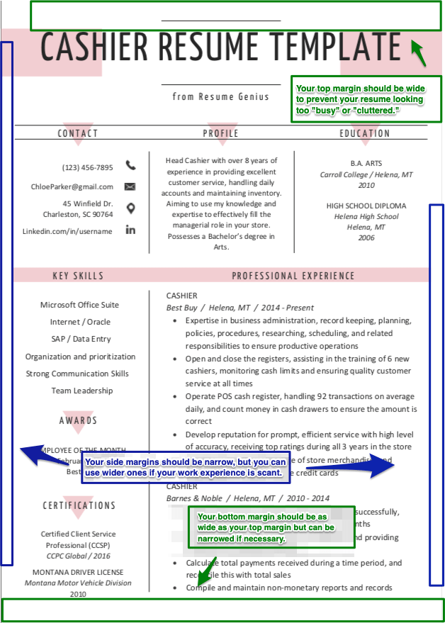 resume template with results in margin