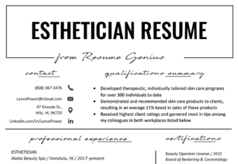 Esthetician Cover Letter Sample For Download Writing Tips