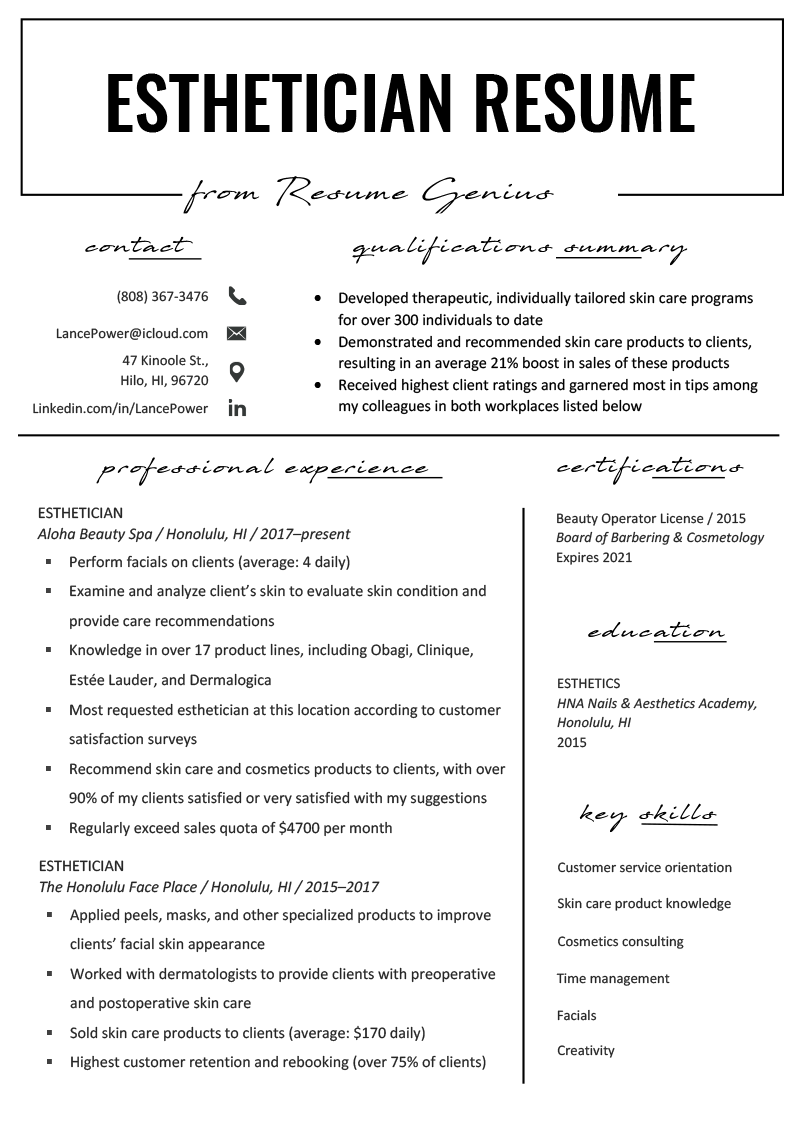 Esthetician Resume Example  Writing Tips  Resume Genius