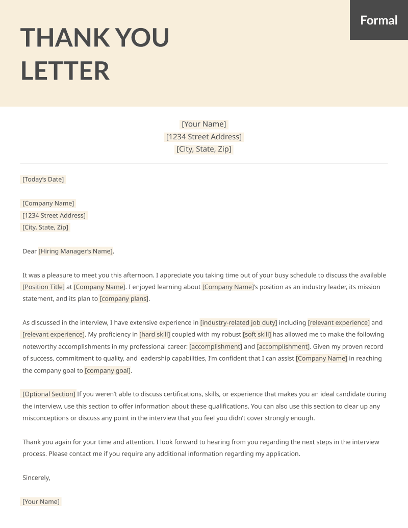 After Interview Thank You Letters Samples Free MS Word
