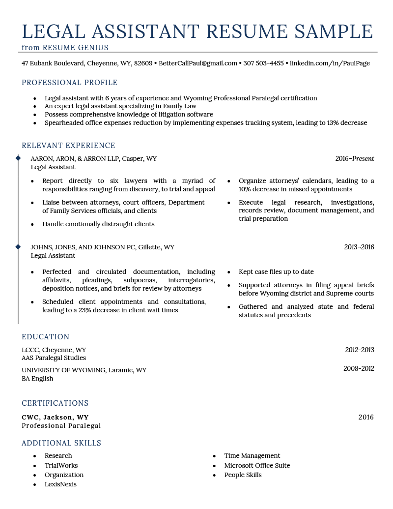 Litigation Legal Assistant Cover Letter Legal Assistant Resume Example Writing Tips Resume Genius