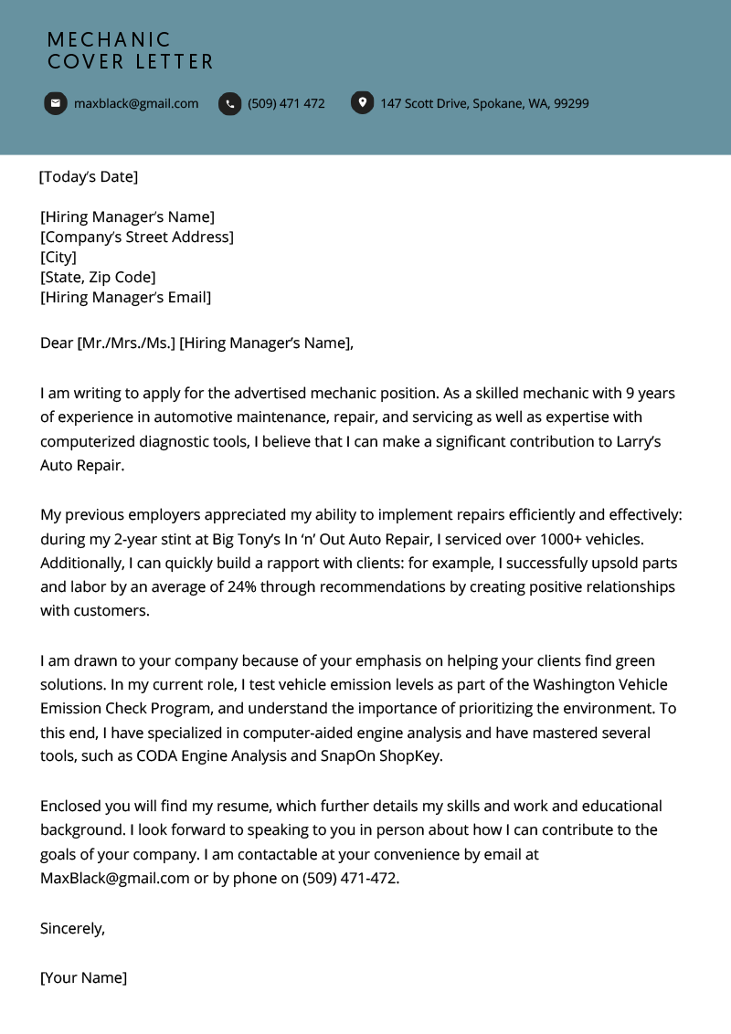 Mechanic Cover Letter Free Downloadable Sample Resume