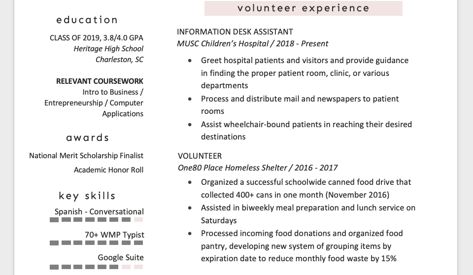 sample resume with relevant coursework