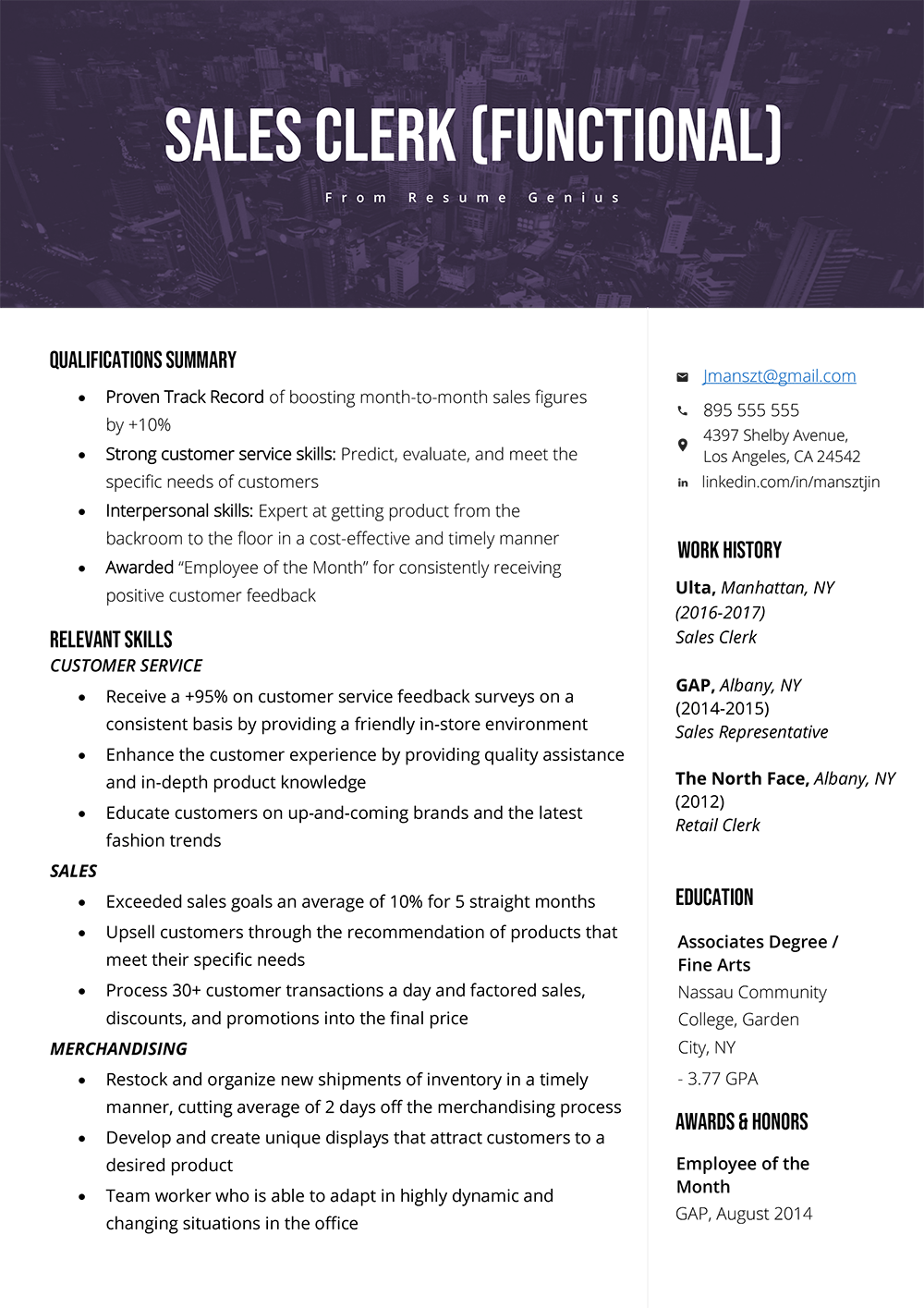 example introduction for resume