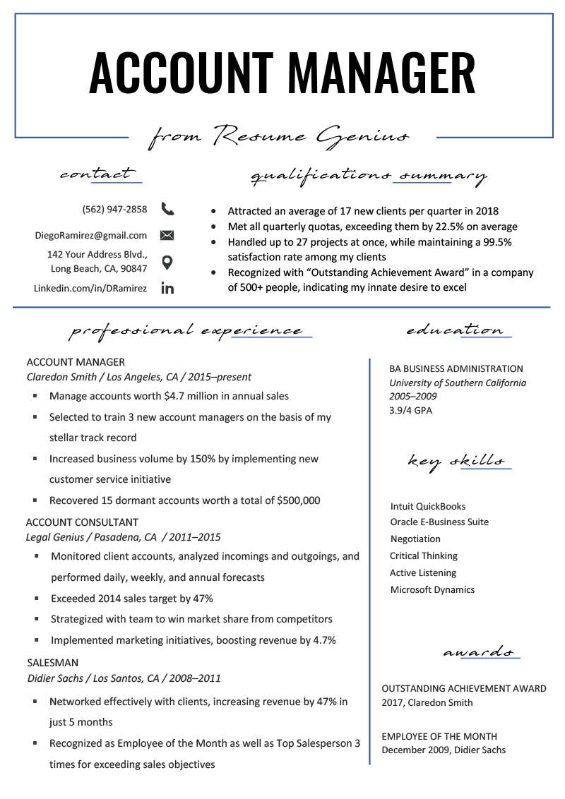 Business Management Resume Examples Account Manager Resume Sample Writing Tips Resume Genius