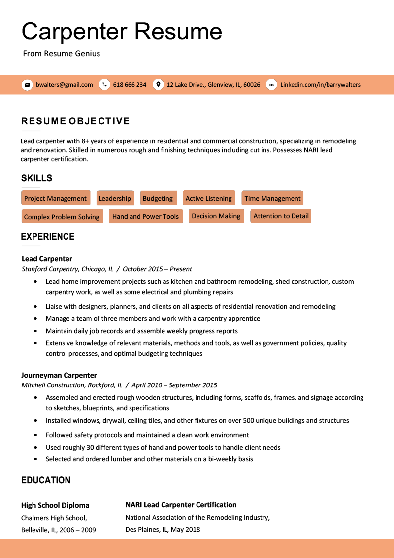 Carpenter Resume Sample  Writing Tips  Resume Genius