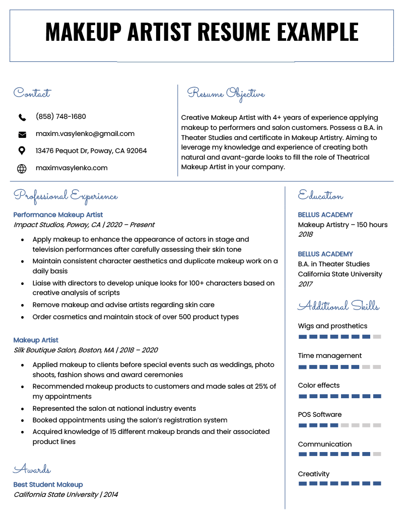 Makeup Artist Resume Sample & Writing Tips Resume Genius