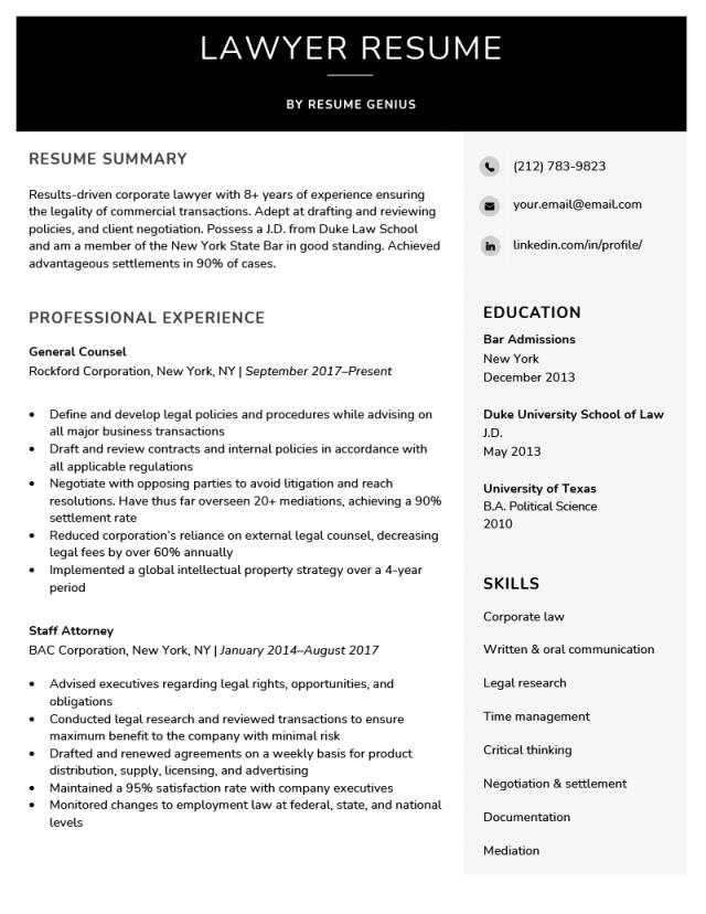 Lawyer Resume Sample & Writing Tips  Resume Genius