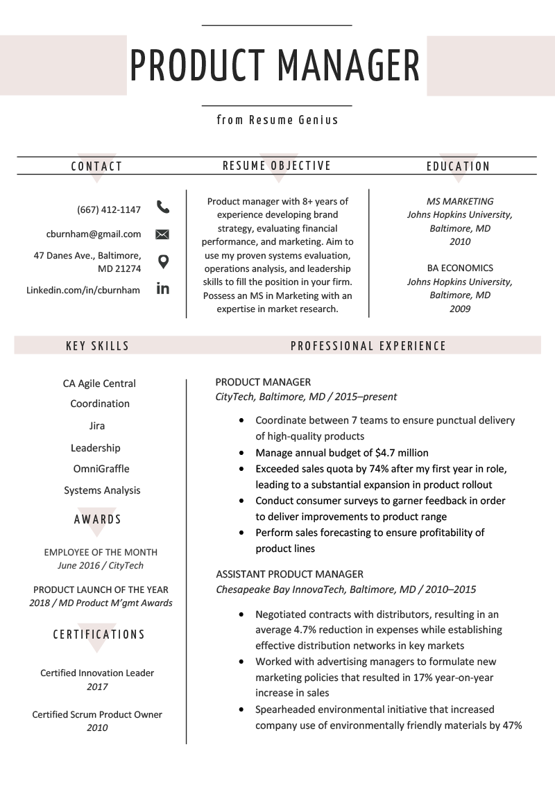 Product Manager Resume Sample & Writing Tips Resume Genius