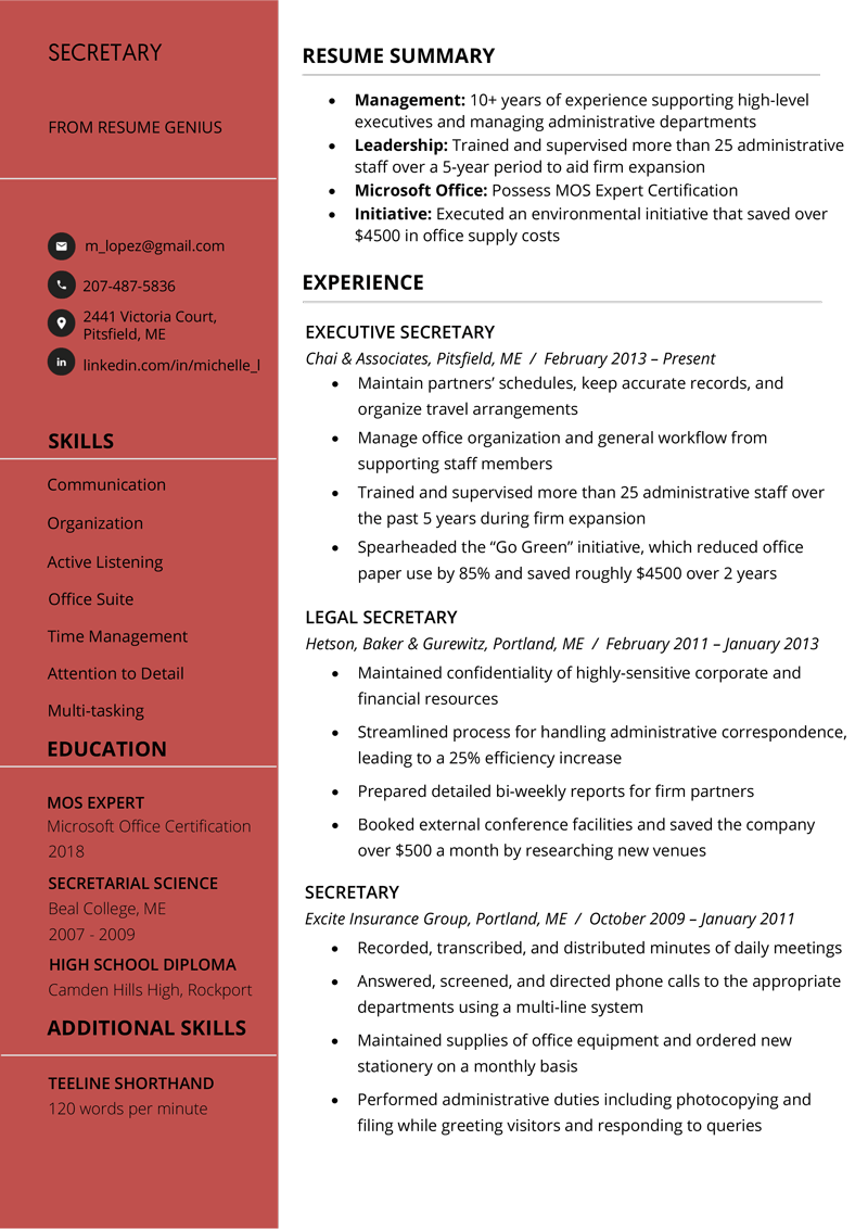 Secretary Resume Sample  Writing Tips  Free Download  RG