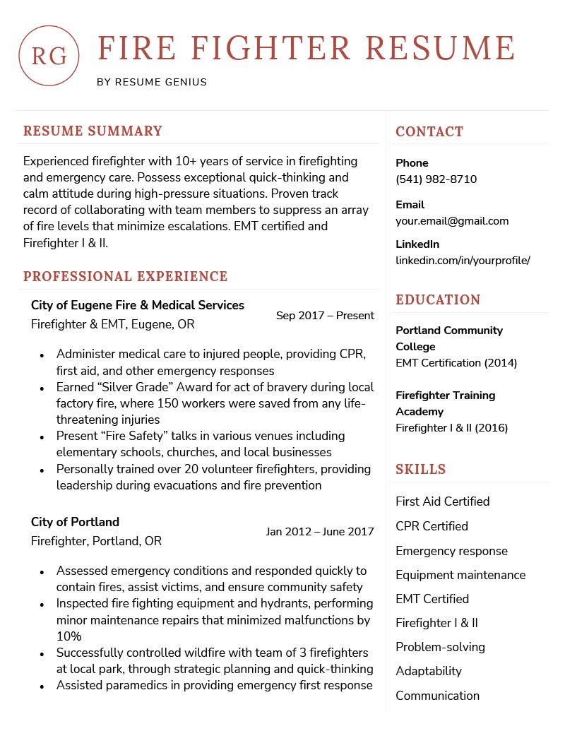 sample resume firefighter paramedic