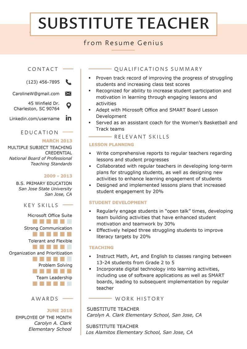 Substitute Teacher Resume Sample Substitute Teacher Resume Samples Writing Guide Resume Genius