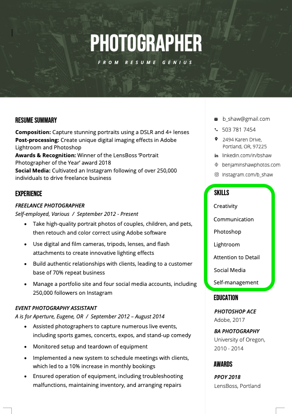 relevant skills for resume examples
