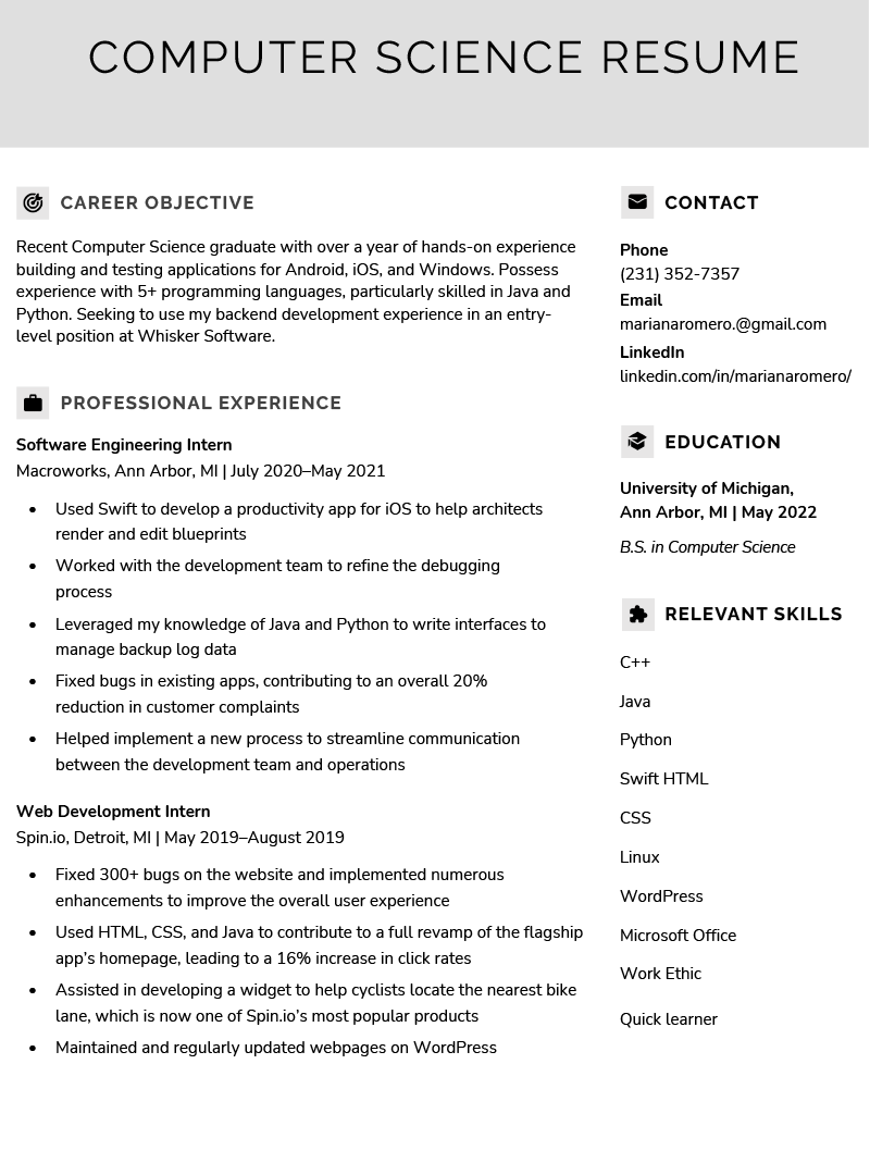 objective in resumes sample
