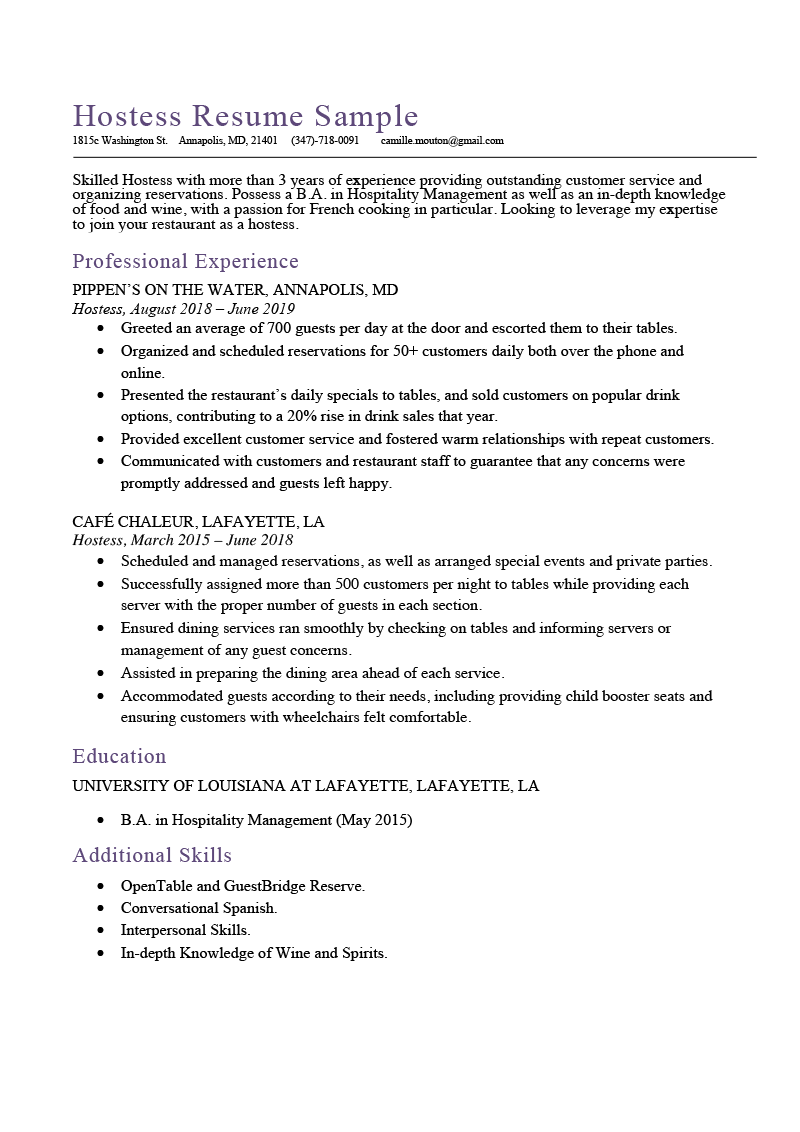 Hostess Resume Sample  Expert Writing Tips  Resume Genius