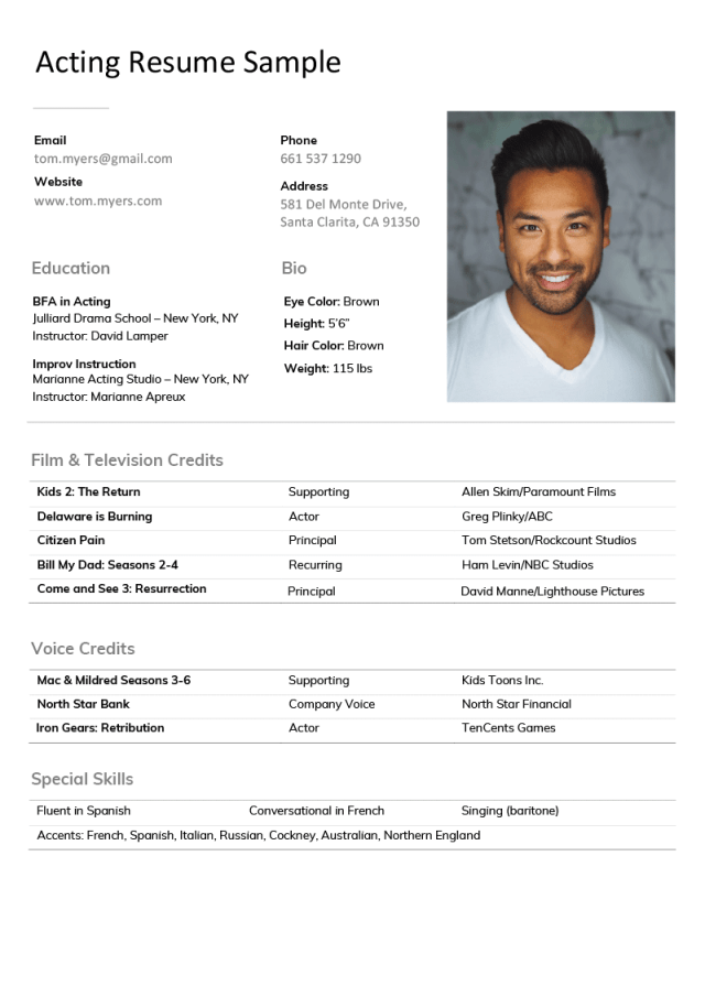 Acting Resume Sample [Writing Tips & Actor Resume Templates]