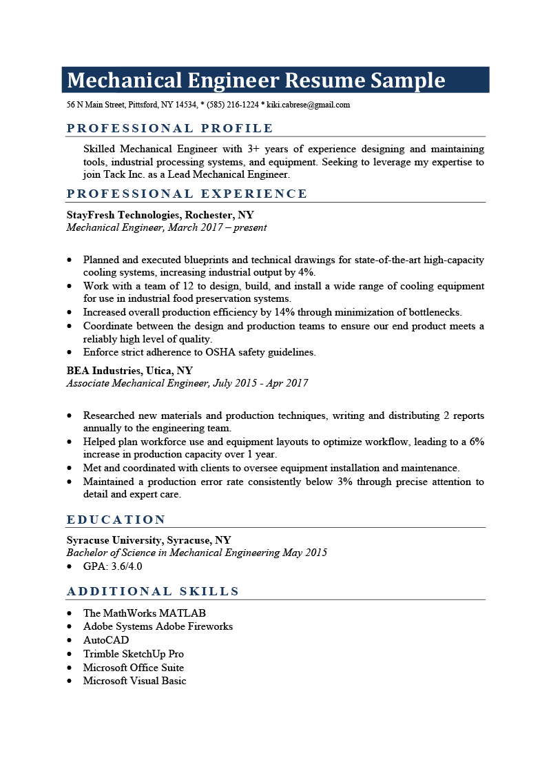 mechanical engineer sample resume download