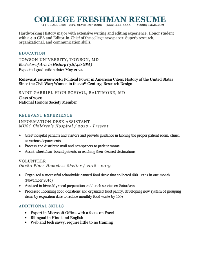 A resume is a summary of your professional and educational experiences. How To Write A College Freshman Resume Template Example