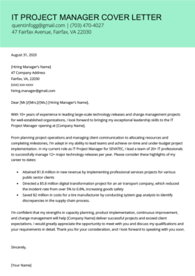 Information Technology It Cover Letter Examples