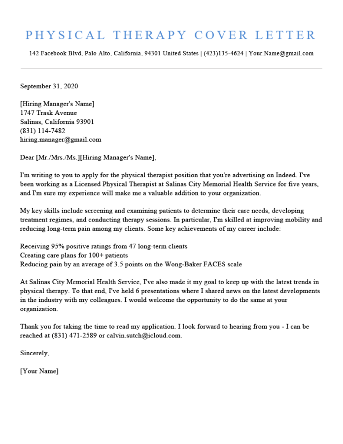 Physical Therapy Cover Letter Sample Template