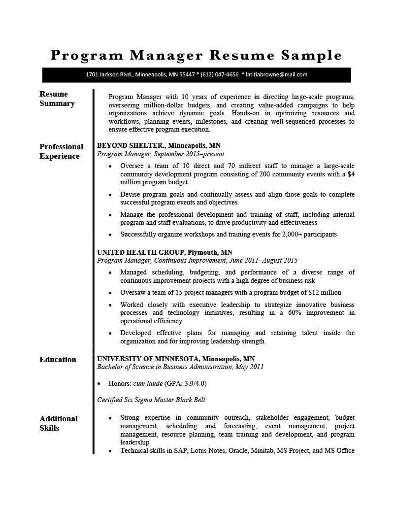 A resume summary statement is a short summary of a professional's value proposition to a prospective employer. Program Manager Resume Sample Resume Genius