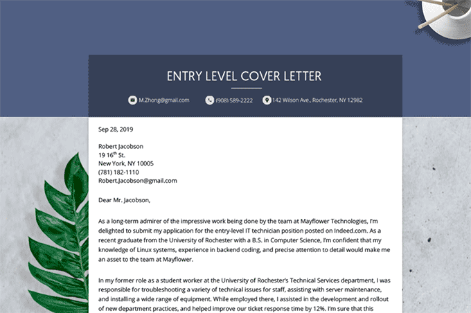 Entry Level Cover Letter How To Write A Cover Letter With No Experience