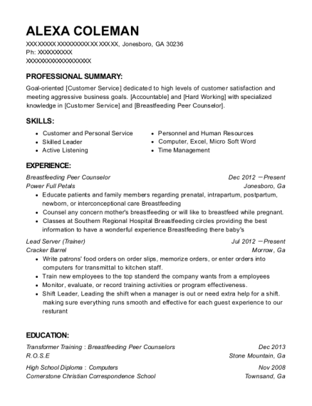 Wic Women Breastfeeding Peer Counselor Resume Sample