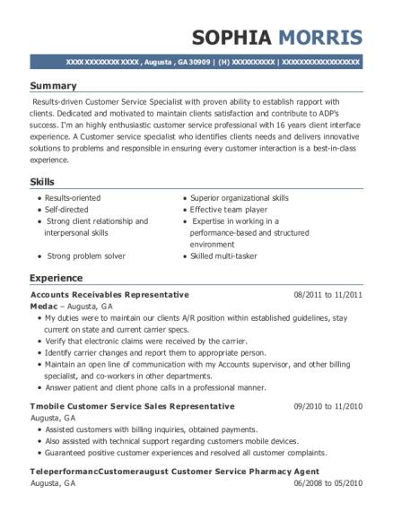 sample resume walmart customer service rep