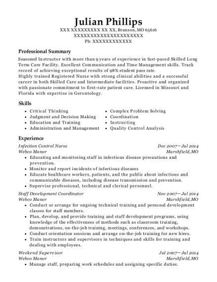 infection control nurse resume