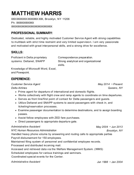 Delta Airlines Inc Customer Service Agent Resume Sample