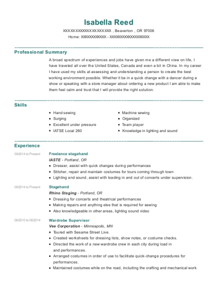 Stagehand Resume Examples Resume Ideas