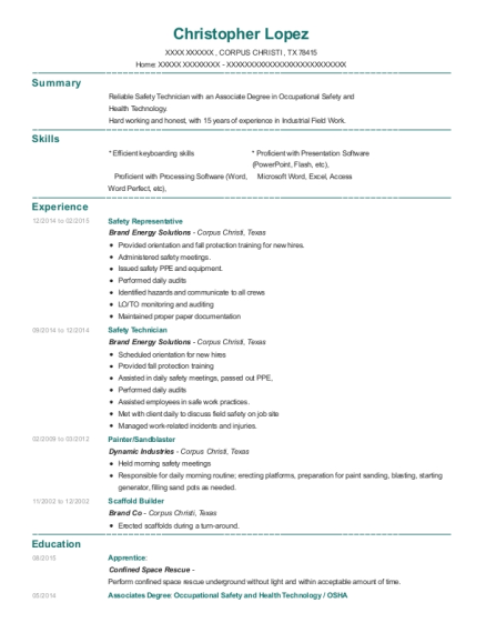 Excel Scaffolding Safety Technician Resume Sample Amite