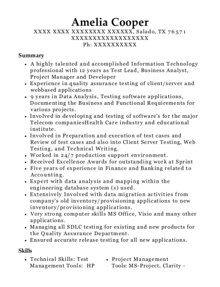 Qa Lead Resumes All New Resume Examples Resume Template