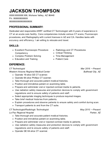 Best Ct Technologist Resumes ResumeHelp