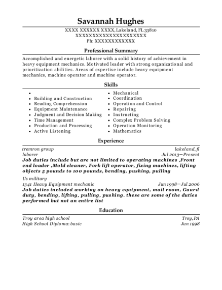 98 Heavy Equipment Mechanic Resume Heavy Equipment