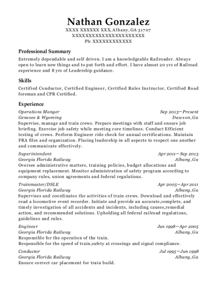 Bnsf Railway Conductor Resume Sample Fresno California